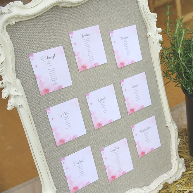 TABLE PLAN FRAME Frame only @£10 / with table cards @£35