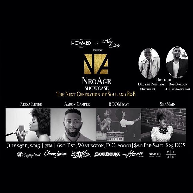 The partnership with @NeoAgeShowcase + @DJJDFoundation has flourished and has been made on a national effort.  You want real music, then get your Tickets for 7.23.2015.  Tickets are being sold at neoageshowcase.com   and thehowardtheatre.com  . @HowardTheatre || @ReesaRenee || @AaronCamper || @BoomscatMusic || @ShaMainmusic. #NeoAgeShowcase #GiveUsRealMusic #Soul #RnB #DJJDFoundation