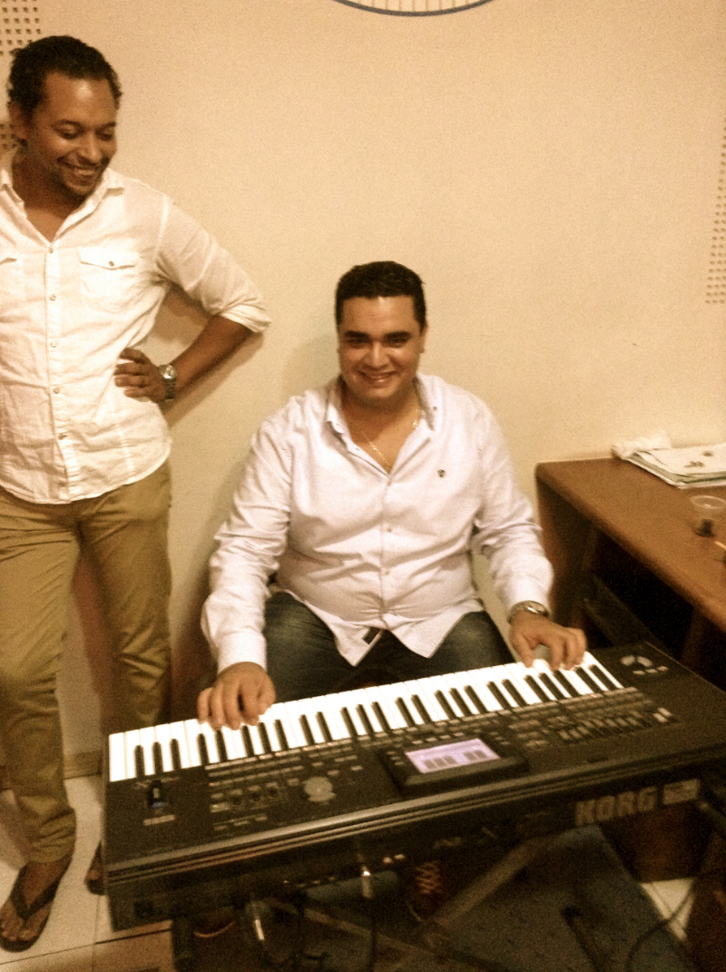 Mounir (tambourine player) messing around at the keyboard while actual keyboard player Amir laughs :)