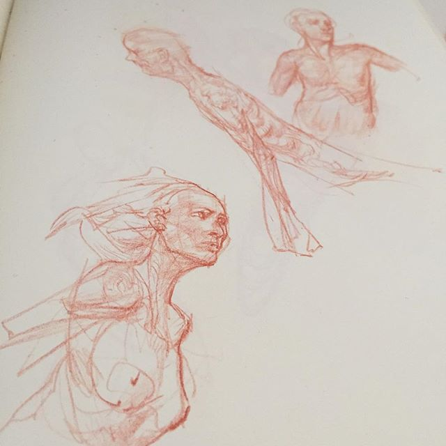I've been in the thick of digital work excited for my figure drawing moments to come. To sit. Observe. Understand. Learn. And do.... You know. ..So in the meantime I doodle away on the side. Nothing but a drawing muscle to exercise and a red pencil itch to scratch. Relaxing. Hope you're well. :)