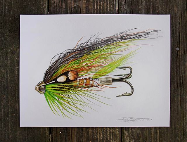 The finished Scandi Fly drawing for the Spey Brothers Project. These are some of my favorite style flies to draw and also fish, so working on this was a real pleasure. 3 of 4 drawings done, now time to finish the fourth.  ___________________ @topsalmonflies #scandifly #tubefly  #atlanticsalmon  #flytying  #flyfishing  #illustration  #watercolor  #drawing  #painting  #art  #artwork  #robbenigno