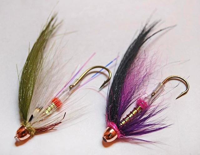 Can it be fall already? I'm practicing my tying for when it is. Here's my first two attempts at Scandi style tube flies. I'm excited to fish them.  #flytying  #flyfishing  #steelhead