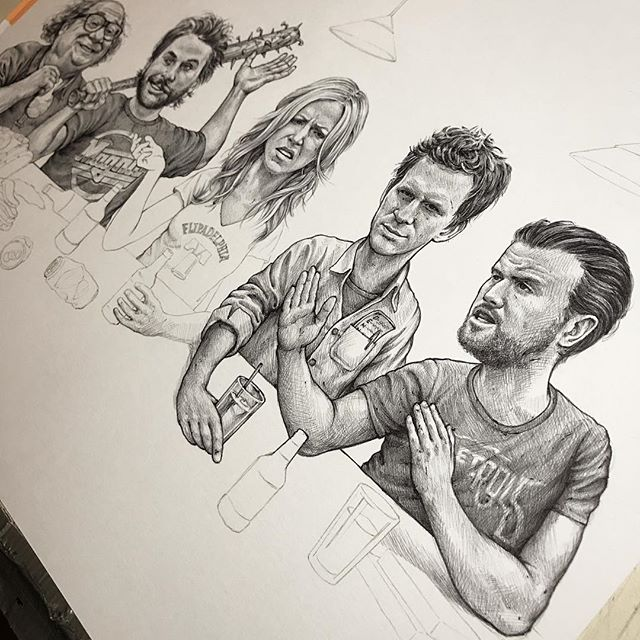 Mac and Dennis ✔️. It's been on a minute on this but it's getting there.  #italwayssunny  #sketch #drawing  #artwork  #illustration