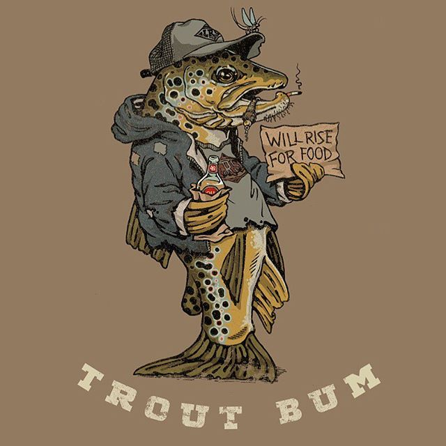 The counterpart to the Drifter Stonefly illustration, here's my finished drawing on the Trout Bum, who main sustenance consist of flies and 40 oz's. This as well as the Drifter will be getting printed up on some stickers and likely shirts too in the very near future. If you some updates on that, follow @lakesriversstreams and get all the bizzness. #lakesriversstreams  #LRS  #flyfishing  #trout #troutbum #browntrout #fishing #artwork  #art  #drawing  #illustration
