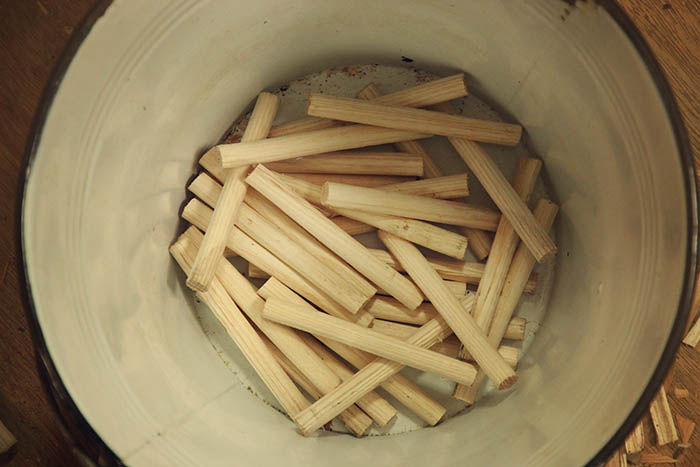 A bunch of lovely ash pegs.