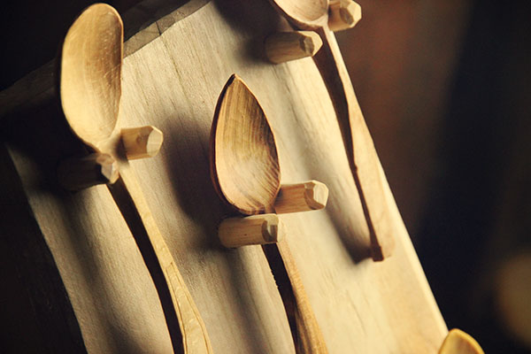 Authentic rustic spoon display
