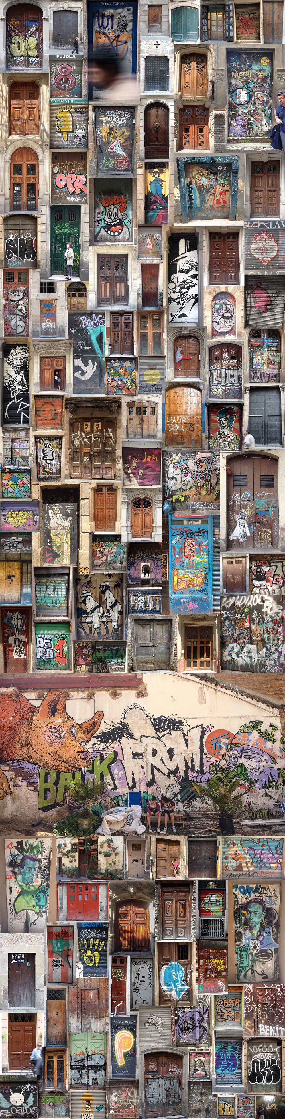 The amazing doors and street art of Barcelona