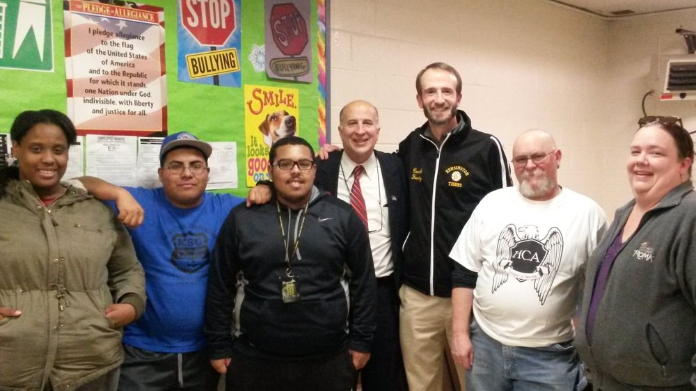 Harrowgate Civic Association meeting regarding improvements at Heitzman Recreation Center. Pictured L to R: KSC coaches Jakeema Burton, Carlos Acosta, and Geoffrey Rojas, Councilman Mark Squilla, KSC President Jim Hardy, and HCA officers Jim Ridgway and Shannon Farrell-Pakstis.