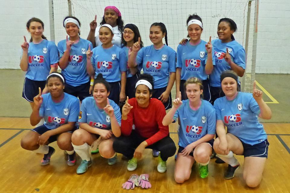 "Kensington SC U19 girls ""Blue Jays"". Winners of 2017 Philadelphia Parks & Rec indoor league. Head coach Jakeema Burton (back), player coaches Brianna Banks (front row left) and Danielle Chattin (front row center)"