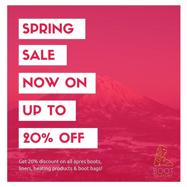 🗻 SPRING SALE NOW ON !!!! 🗻⁣ - Get 20% off all apres boots, liners, heating products & bootbags at anyone of our three stores; Niseko Hirafu, Niseko Village & Hakuba. Happy Shopping! 😁 | #BootSolutionsJapan