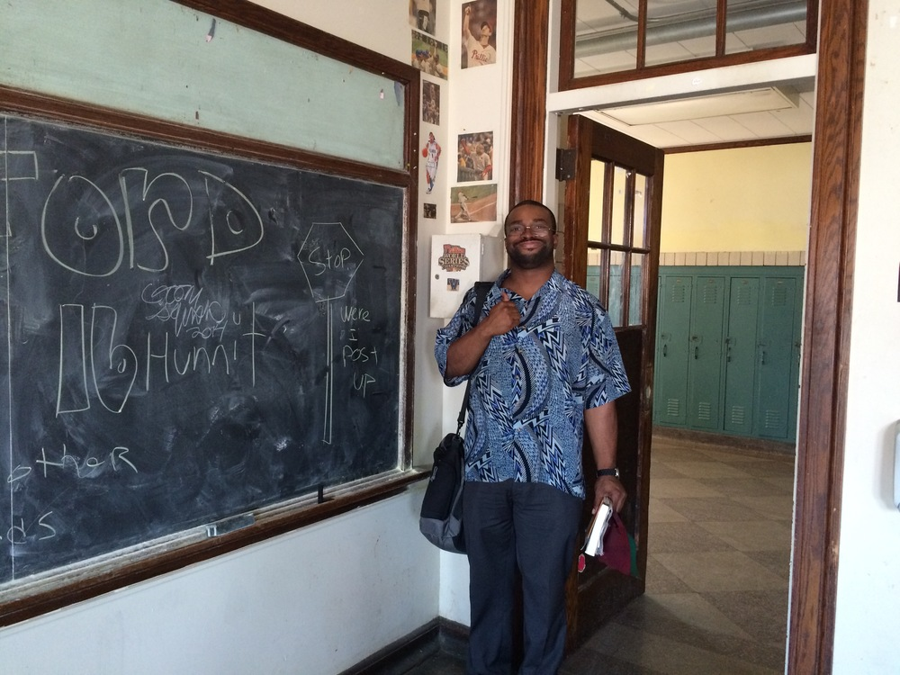 Phillip Jefferson, Bok HS Class of 1996, poses in a room where he used to attend classes on the 5th floor of Bok Vocational Technical High School.