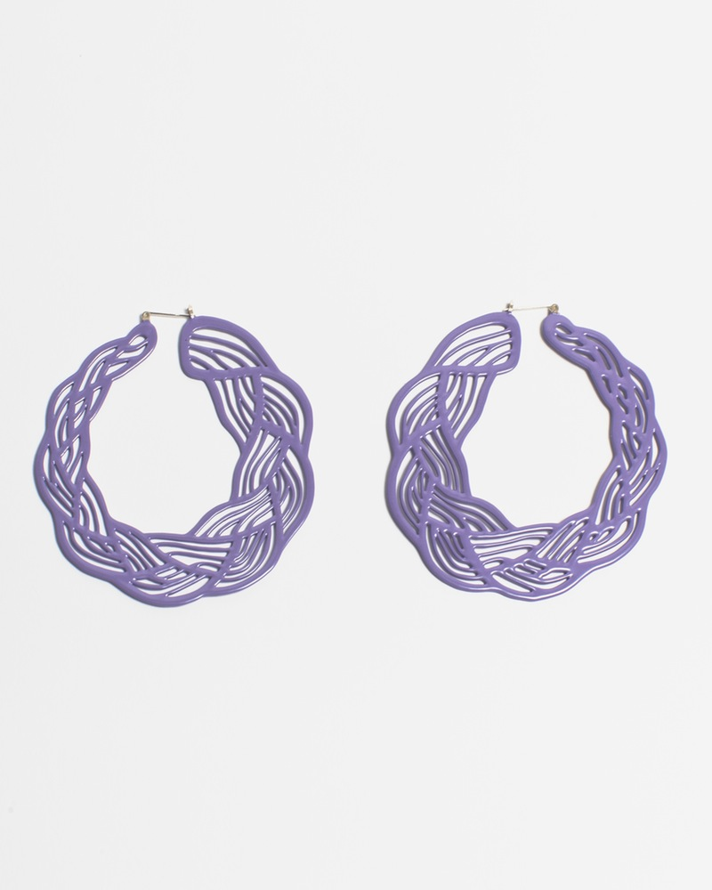 Pastel Braid Hoops ($120), Mallory Weston