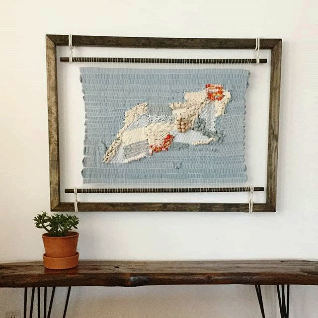 backroads to the mall. textile and mixed media woven on frame loom with apron rods.