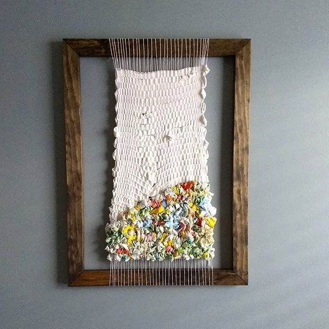 Almost home. Textile art woven on a frame loom with vintage fabrics.