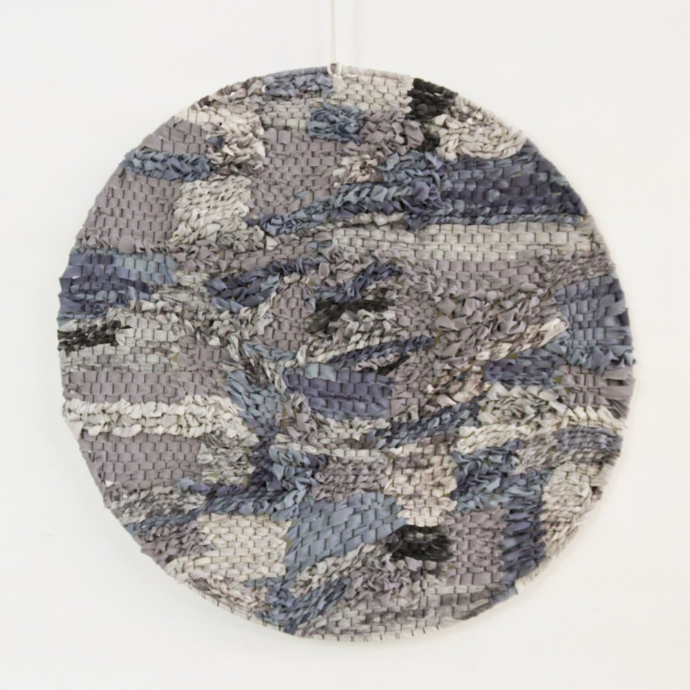 gray, purple, blue woven circle art by Jamie Tubbs