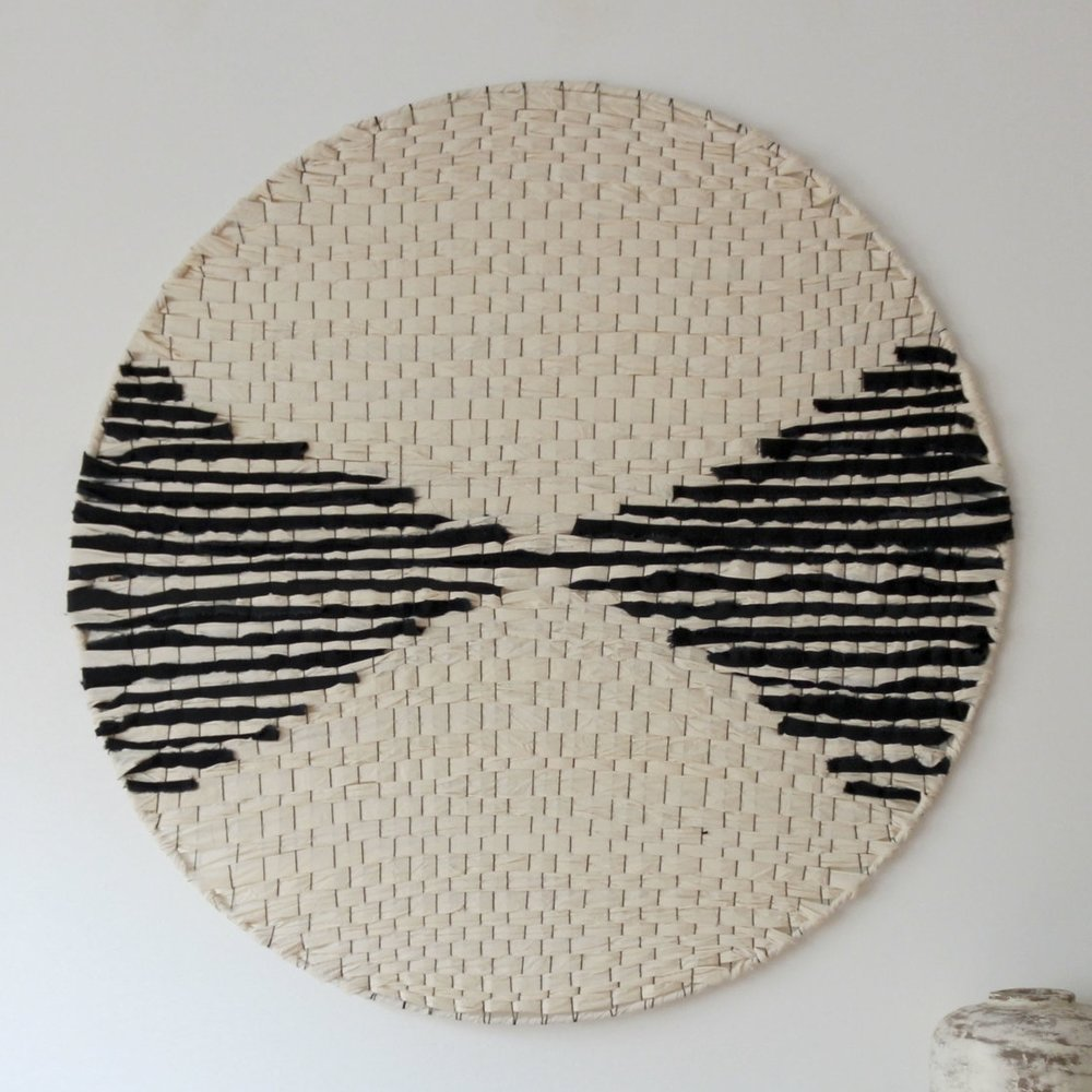 inlay woven textile art circle by Jamie Tubbs