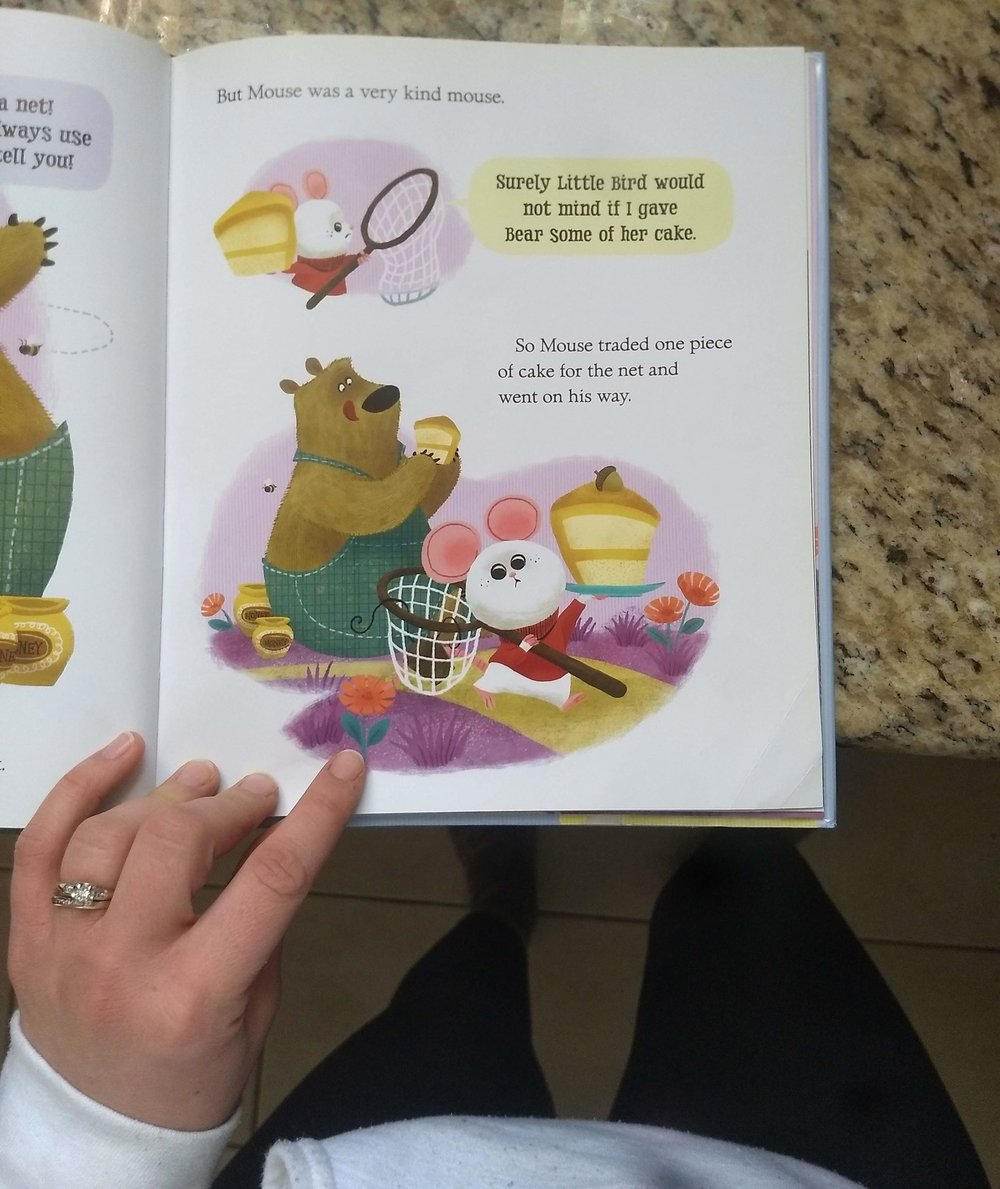 The mouse in this bullshit library book believes that kindness is giving away the entire birthday cake he spent all morning and used up all his materials to make, so he shows up at his friend's house with nothing.