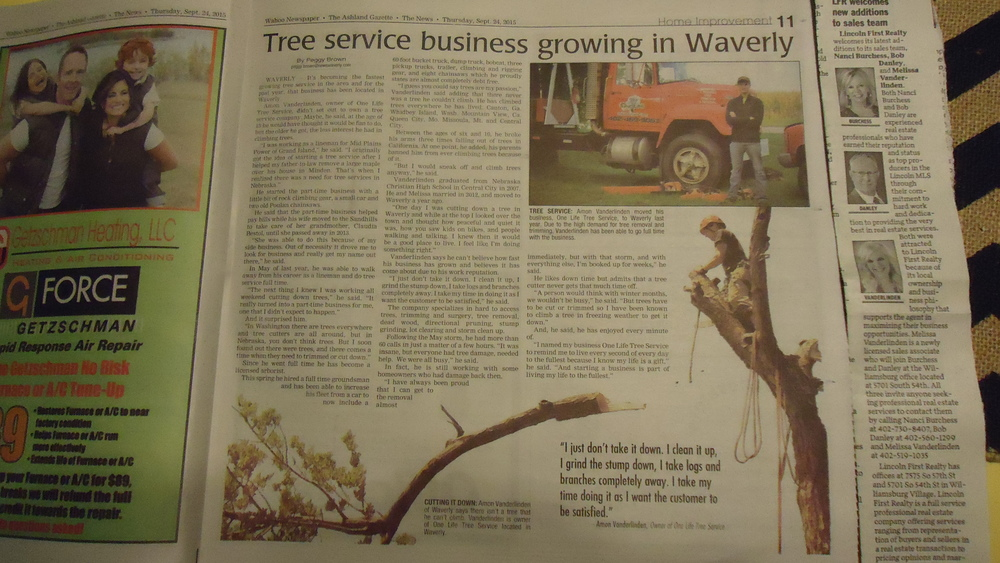 An article the News Paper wrote about One Life Tree Service!