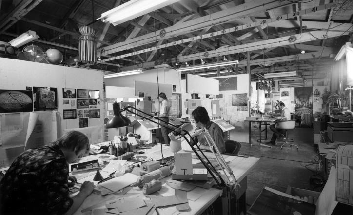 Designers sketching at Charles and Ray Eames' Studio