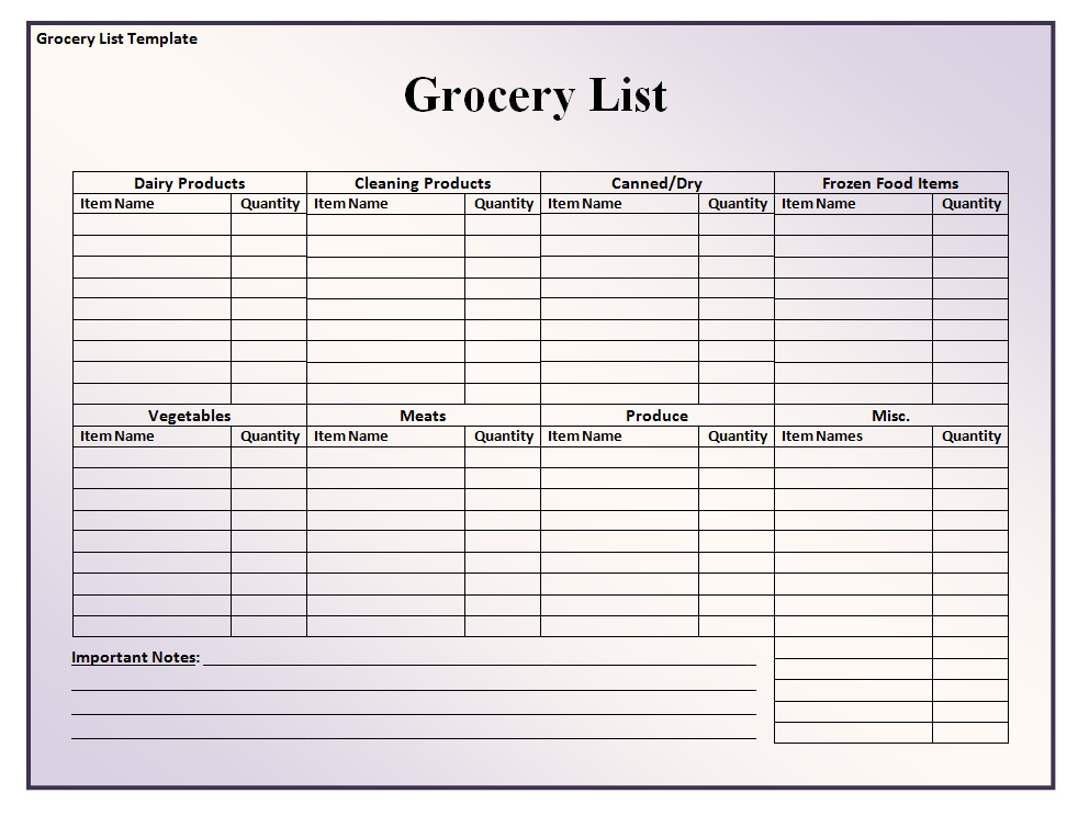 Grocery Shopping List Template  Blank Grocery List Templates