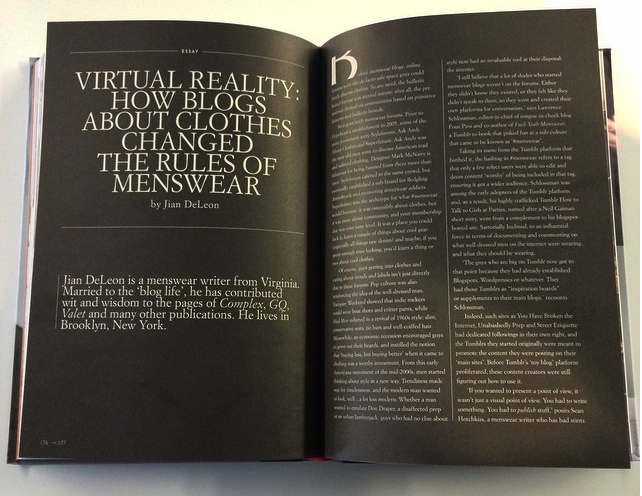 "Essay: ""Virtual Reality: How Blogs About Clothes Changed the Rules of Menswear,"" in the book Contemporary Menswear: A Global Guide to Independent Men's Fashion, published by Thames & Hudson"