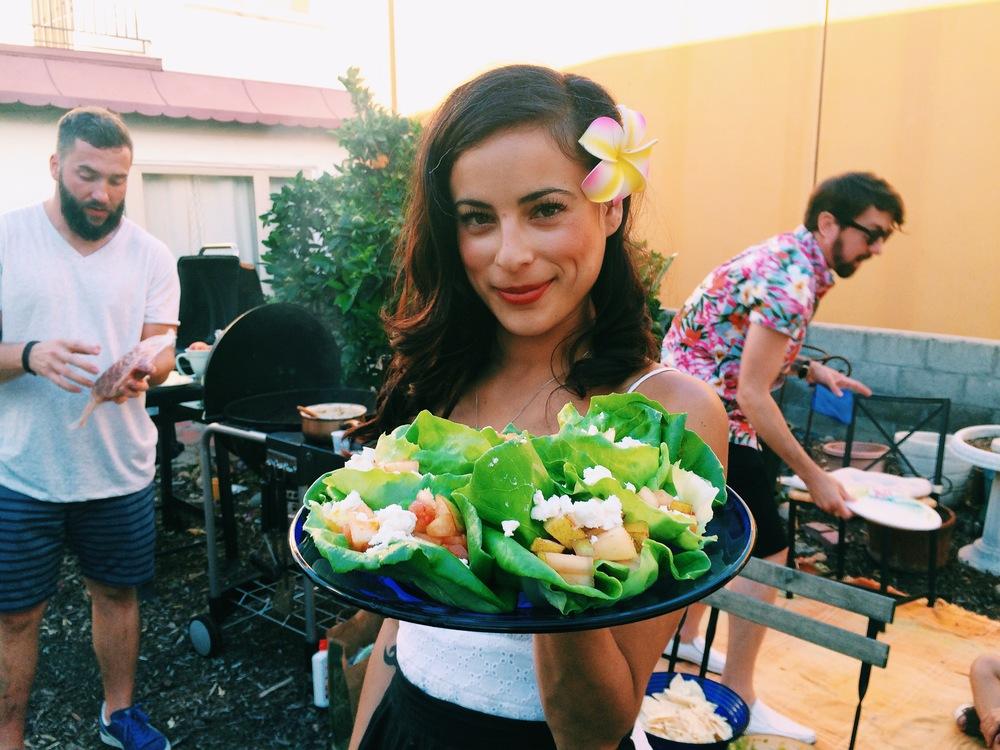 Elena and her fancy rabbit food.