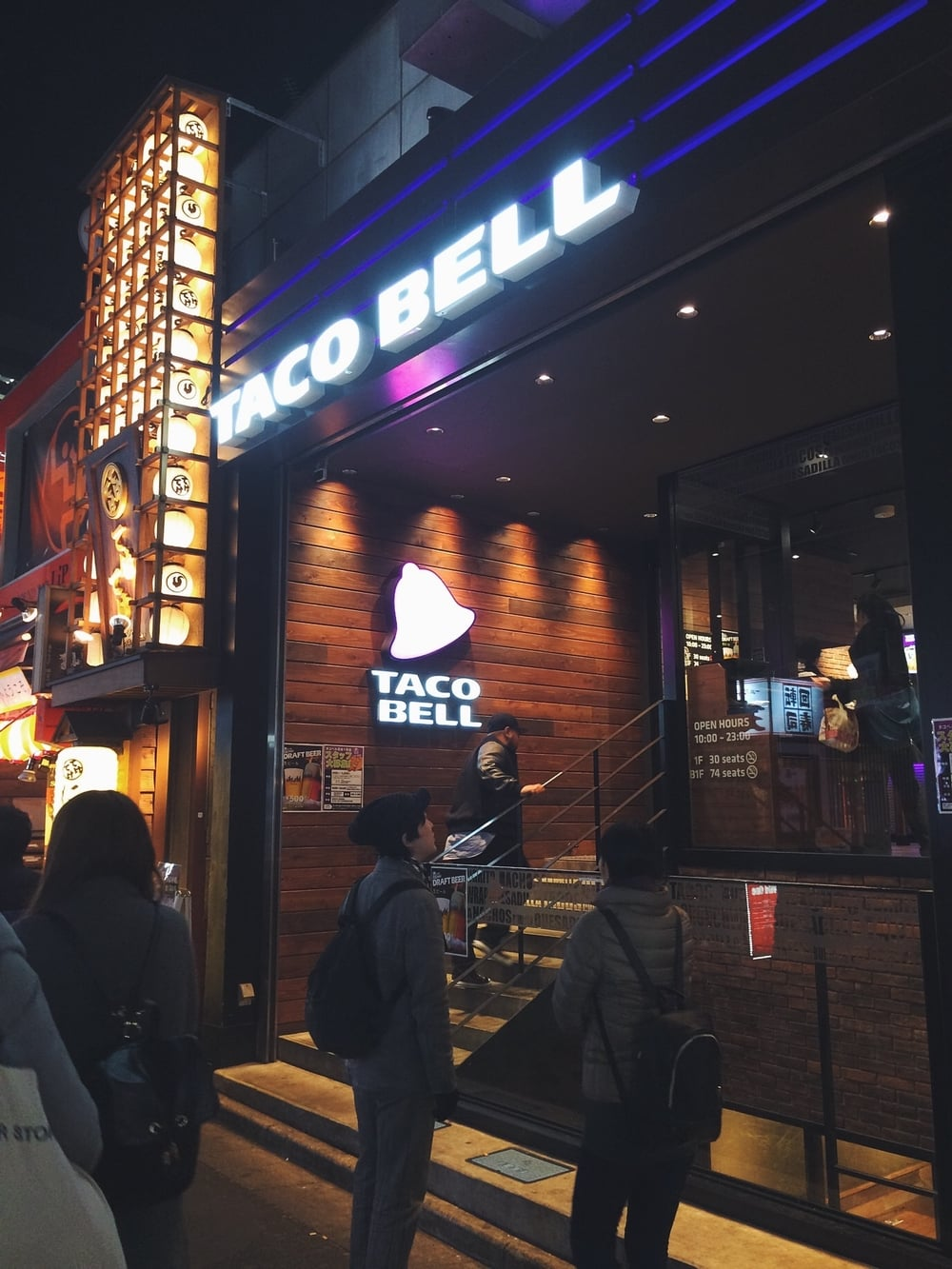 We found Taco Bell! Their menus was slightly different. They served beers and stuff with shrimp.