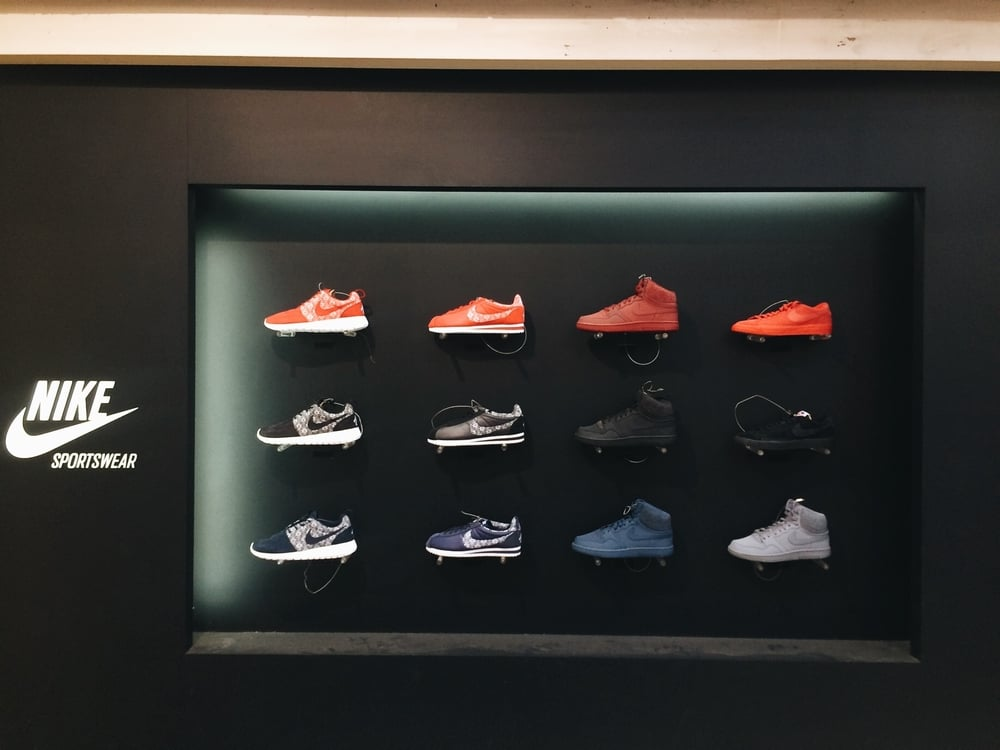 This is an outdoor Nike display, pretty cool. No glass.