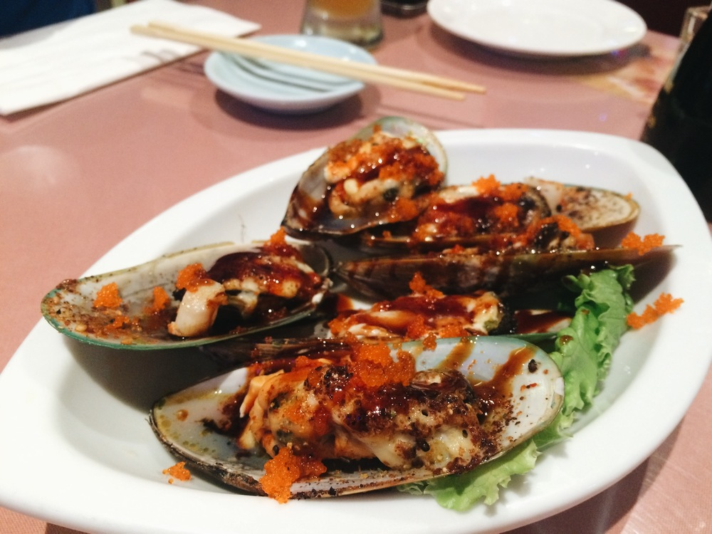 Baked mussels, super good.