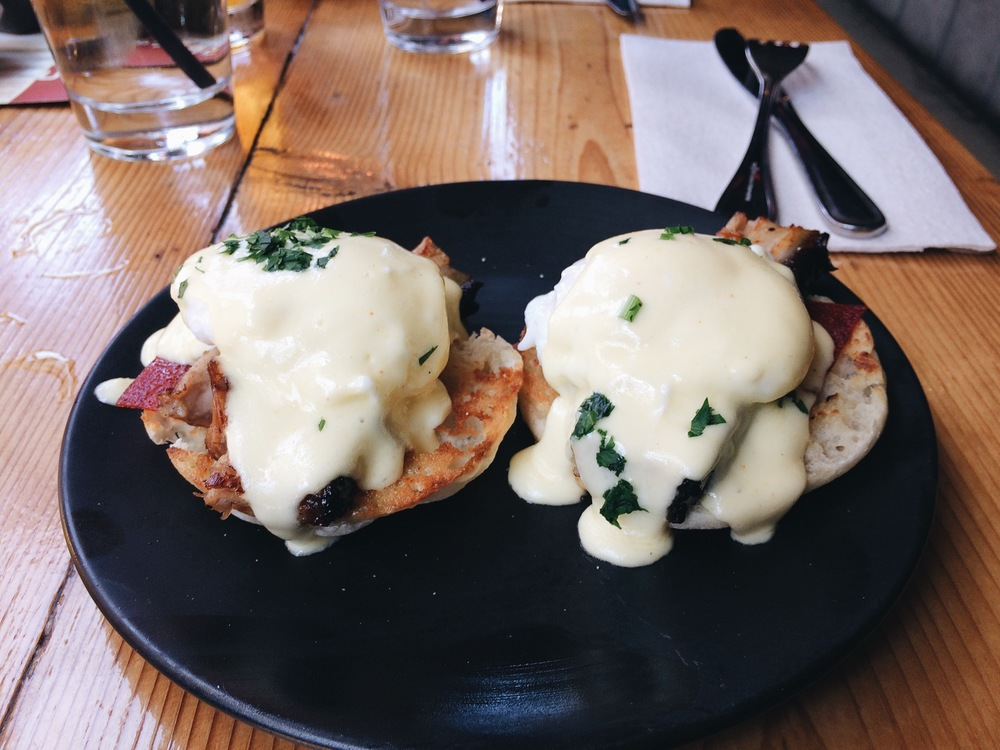Pork Belly Benedict, they serving brunch now! This shit right here, this shit right here, is the business.