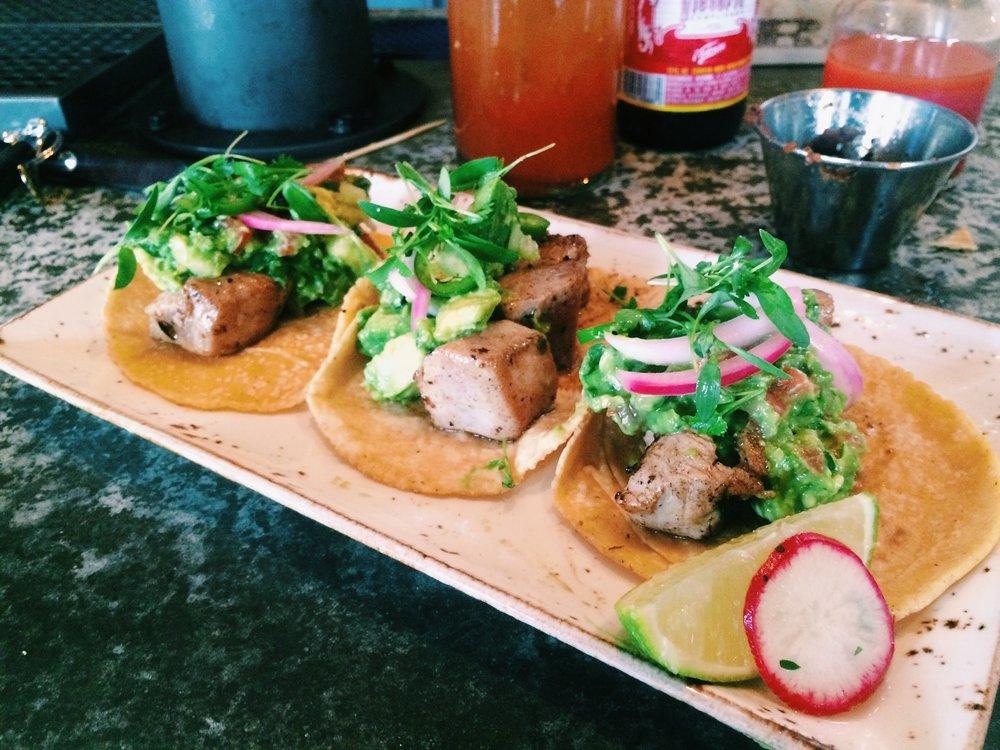 Three Tuna Asada tacos, I eat healthy.