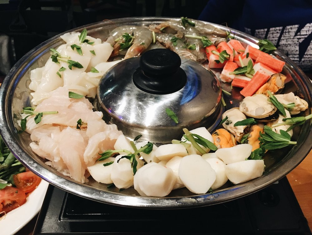 Oh I forgot to mention, it's a Seafood Thai Hot Pot with fish ball, fake crab meat, shrimps, fish, squid, and Mussels.