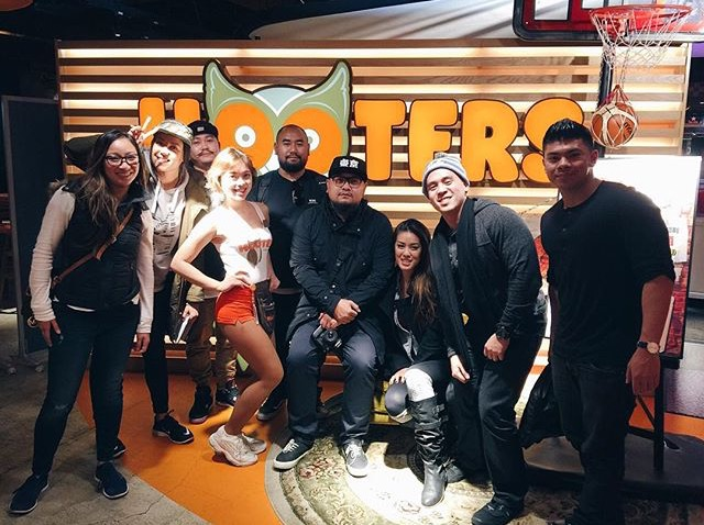 Hooters in Japan with some old friends and new friends.