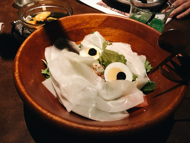 A salad with a face.