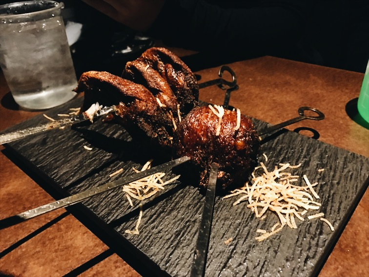 Chicken, taste aight. Kinda burnt.