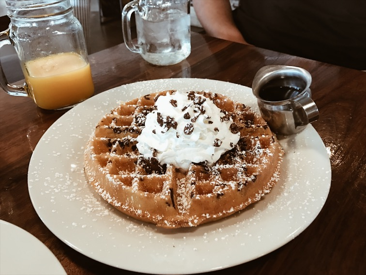 Their waffles comes with either fruity pebbles or cocoa pebbles, either or it's the fucking business.