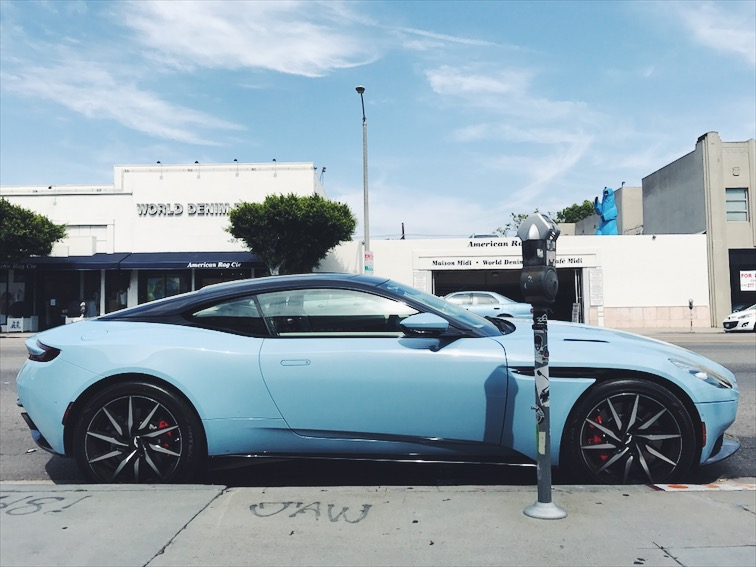 Well, no pictures from Downtown Disney, but I'll leave this here. Spotted on La Brea, Aston Martin DB11 to match the blue skies.