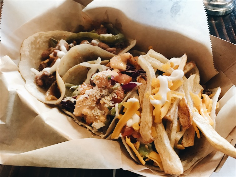 I was surprised to see fries in the tacos Dook ordered. But it make sense, it's their Califa tacos. Hahaha I get it, like a California Burrito.
