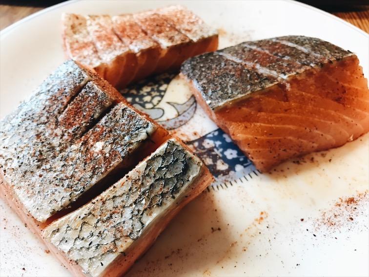 Salmon seasoned in Paprika, Salt, Black Pepper.