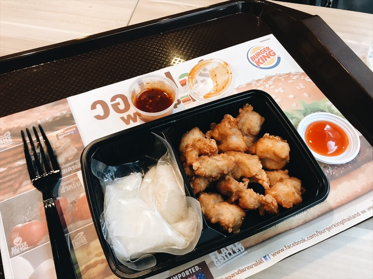 Fried Chicken and sticky rice at the Burger King Thailand.