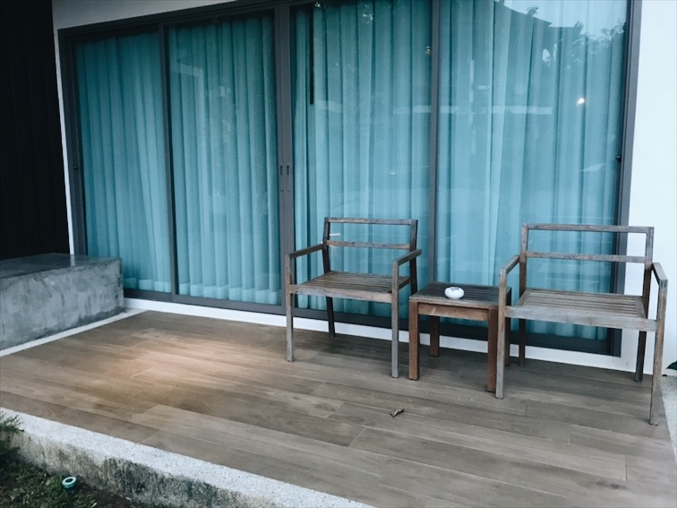 Morning time, now I can take a picture of the pool area. This is our balcony.