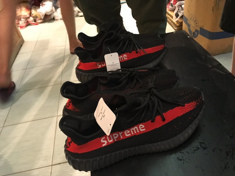 """My brother Dook and Bob bought these """"supreme yeezy"""" just to fuck with Hypebeast back at home. I wanted one too, but my brother got the last 9.5."""