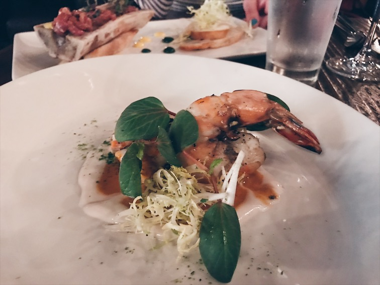 Giant Nigerian Prawns: chili butter sauce | frisée | red watercress | coconut purée (Oh that's why I taste coconut haha).