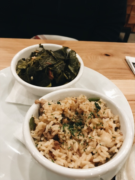 Dirty Rice and Collard Greens, forgot to take a photo of the Jambalaya and Corn Bread. SMH.