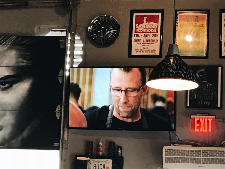 We were watching the episode of The Zimmern's List where he ate in San Diego. Chef Jason on the screen!