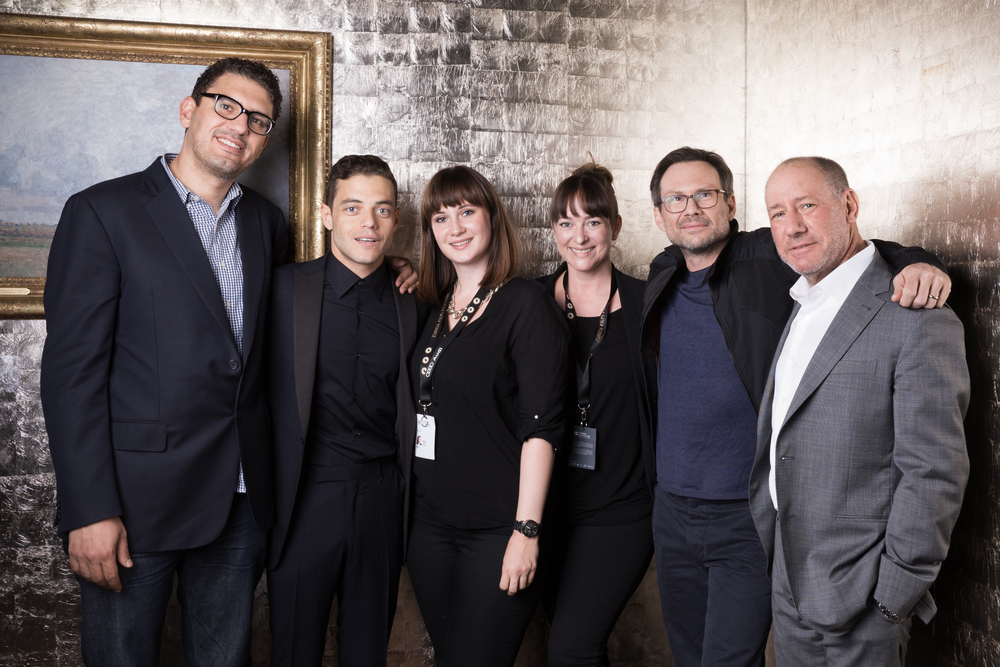 Group Pic with Mr Robot Team: Sam Esmail, Rami Malek, Christian Slater and Steve Golin