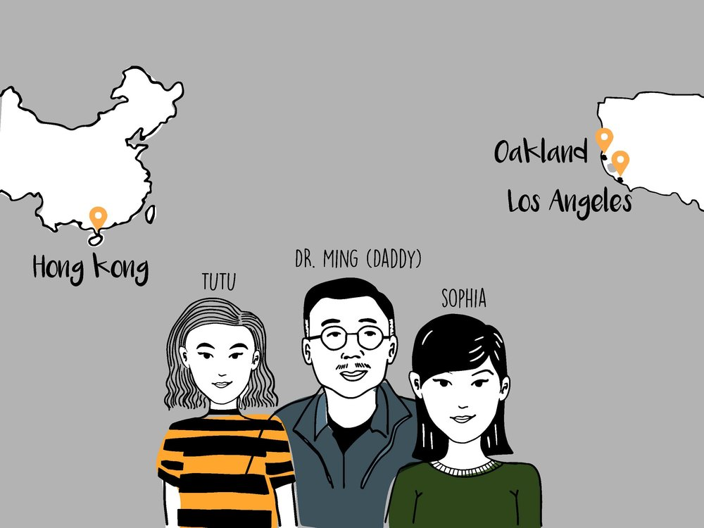 This is Dr Ming and his daughters Tutu and Sophie. Dr Ming lives in Hong Kong and has come to San Francisco for a last minute business trip. Sophie is Student in LA and Tutu is a senior at CCA, currently living in Oakland. Both daughters traveled to San Francisco to see their father, who they don't often see.