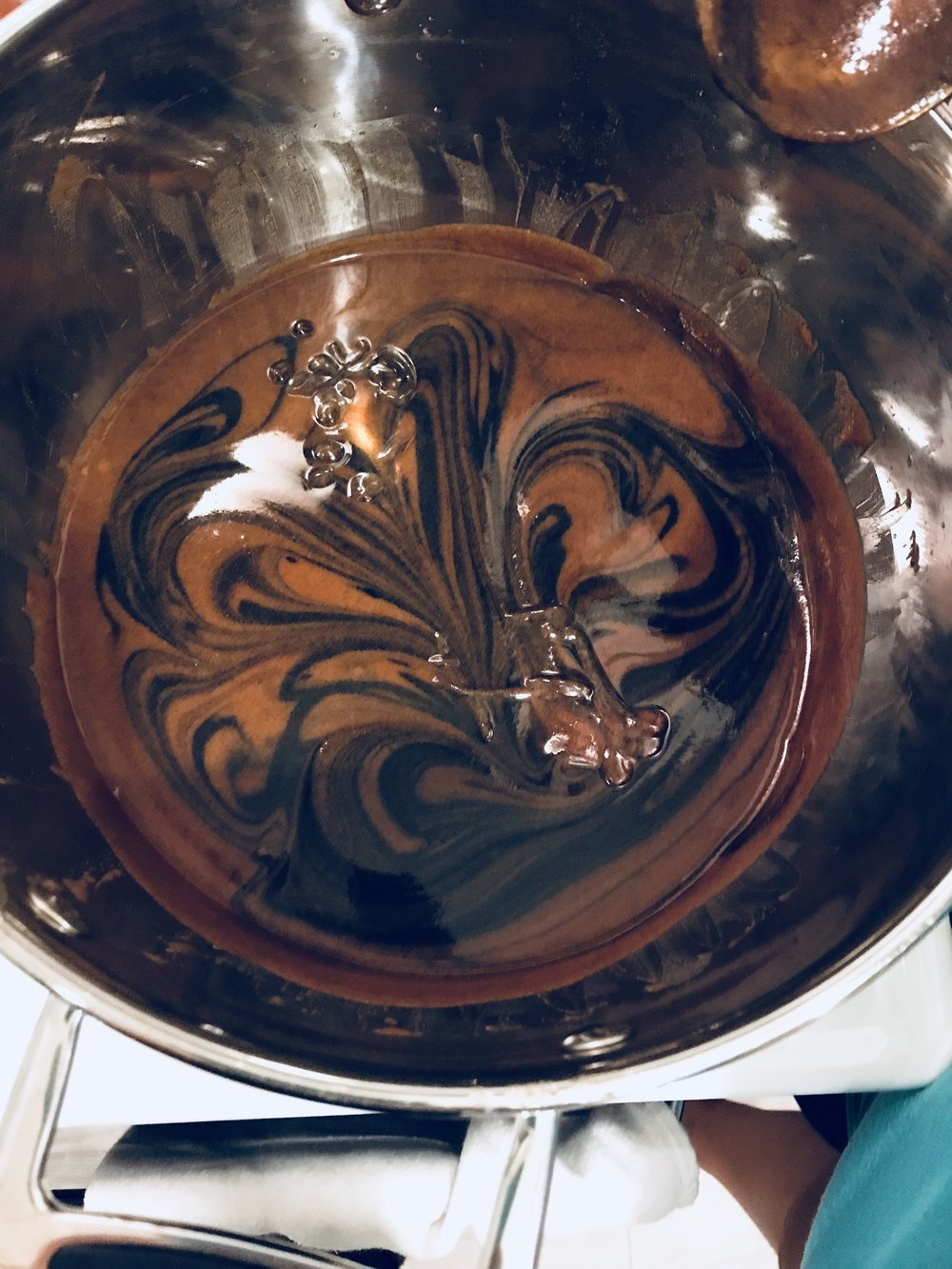 Blended in turmeric, then swirled in charcoal before pouring
