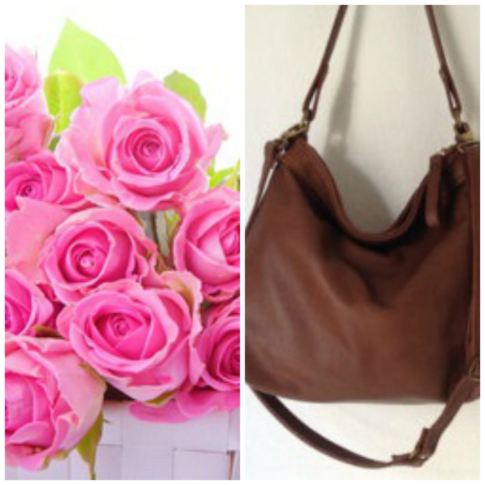 roses and leather handbag