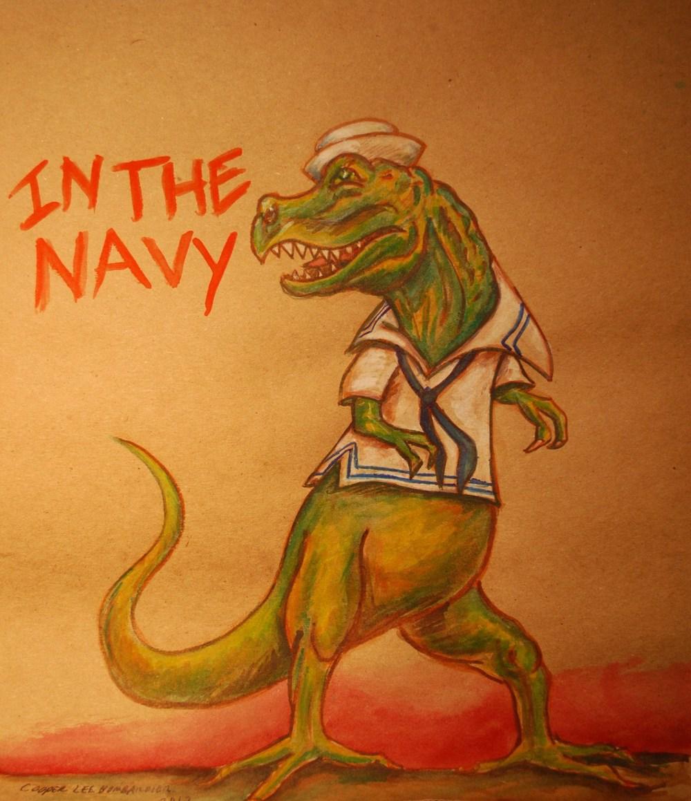 Faggot Dinosaur_ In The Navy_By Cooper Lee Bombardier.jpg